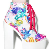 Iron Fist My Little Pony Merry Go Round Platform Boots Multi