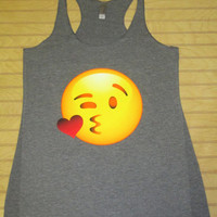 Women's Tri Blend Racerback Tank Top Kissing Emoji