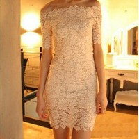 Beige Slim Package Hip Collar Lace Dress