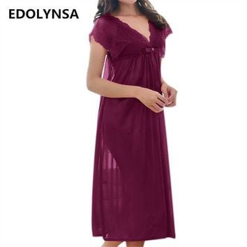 ESBONHS New Arrivals Lace Nightgowns Sleepshirts Solid Sleepwear Sexy Nightgown Female Soft Home Dress Vintage Long Nightgown #H162