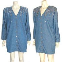 1980s Vintage Blue Jean Cotton Beaded Mini Dress