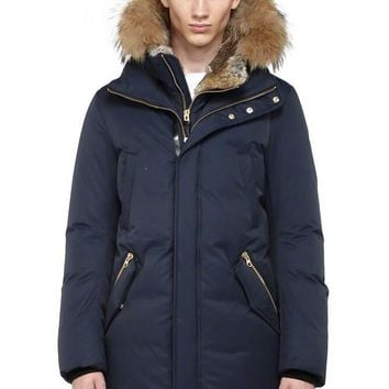 Mackage men's edward-f4 winter down coat with fur hood and leather details  jacket/Dark blue