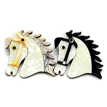 Womens White & Black or Yellow Retro Acrylic Horse Animal Brooches Pins