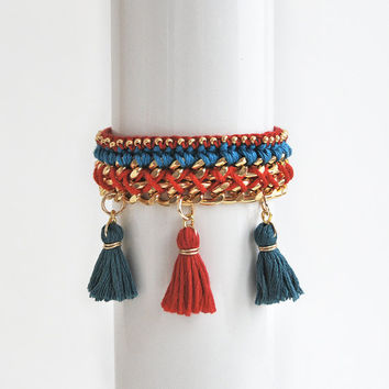Red boho bracelet with tassel charms, ethnic bracelet, woven chain bracelet, red and turquoise bracelet