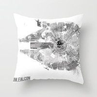Star Wars Vehicle Millennium Falcon Throw Pillow by Nicholas Hyde