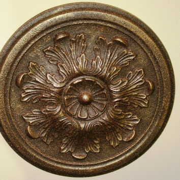 "Antiqued Ceiling or Wall Medallion, 13"" Ceiling Medallion, Ornate Medallion, ceiling medallion"