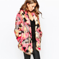 Multicolor Faux Fur Open Front Lapel Coat