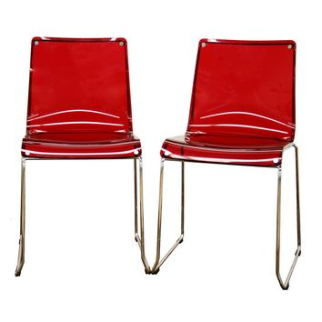 Baxton Studio Lino Transparent Red Acrylic Accent Chair Dining Chair Set of 4