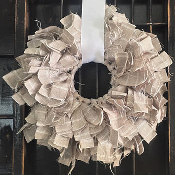 Custom Shabby Chic Handmade Decorative Rag Wreath- 3 various sizes