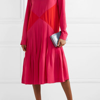 Cédric Charlier - Color-block pleated crepe midi turtleneck dress