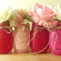 Four, Hand Painted Mason Jars | Pink and Red, Rustic - Style Painted Jars | Home Decor