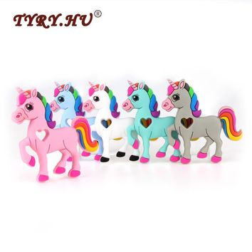 TYRY.HU 3Pcs Horse Baby Teethers Food Grade Silicone Teether BPA Free Mordedor Baby Teething Nursing Necklace Charms Pendant