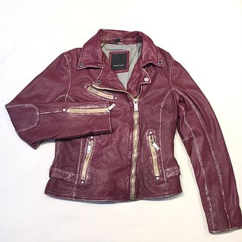 Mauritius Ladies Washed Wine Lambskin Biker Jacket