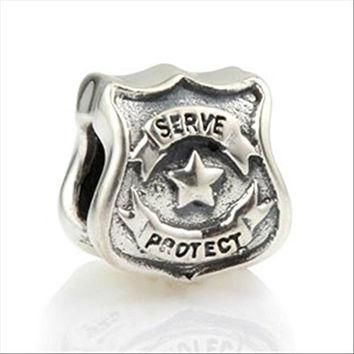 Protect Serve Police Officer Badge 925 Sterling Silver Charm Fits Pandora Charms