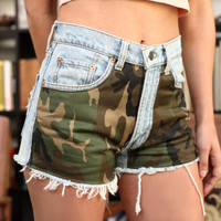 SACRAMENTO Vintage Camouflage Print Denim Cutoffs High by Deadenim