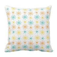 Nifty fifties - atoms and stars throw pillow