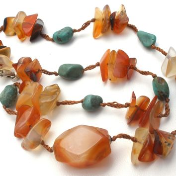 Carnelian & Turquoise Nugget Bead Necklace