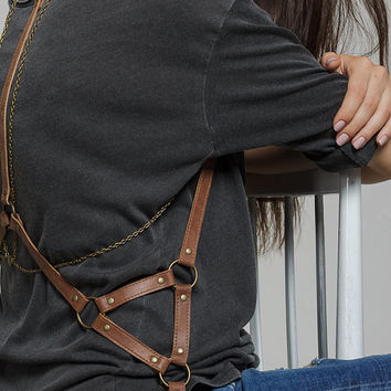 Brown leather women body harness  belt