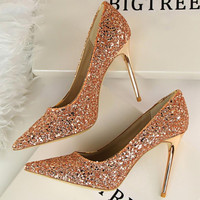 {D&H}Brand Woman Shoes Gold Glitter Pumps Discount  Ivalentine Shoes High Heels Princess Wedding Shoes
