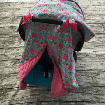 Blue Rose Print Car Seat Canopy