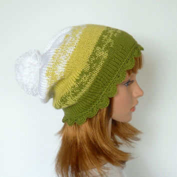 Spring Green Ombre Beanie with White Pom Pom, Slouchy Beanie in Green and White, Pom Pom Beanie, Ski Hat, Handknit Hat for Snowboarding