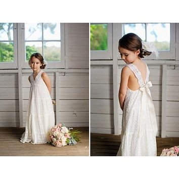 vestidos de comunion  flower girls dresses floor length vintage maxi ivory lace flower girl dresses suitable for beach wedding
