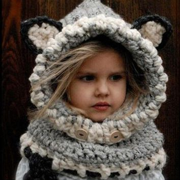 ONETOW 2017 Winter New Children Cartoon Fox Shpae Knitted Hats &Shawl Baby Girls Photography Props Warm Neck Wrap Kitten Scarf Caps