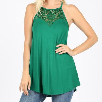 Premium Lace-Paneled Sleeveless High-Halter Top