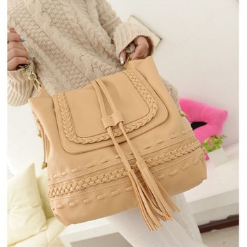 Hot Sale Korean Casual Twisted Tassels Bags Shoulder Bags [6580951239]