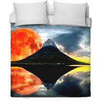 Sun set and Red Mood Bed Cover