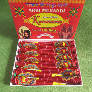 Henna cones,Fresh, handmade khusnuma  Dulhan ARBI Mehandi Cones,6 INCH LONG self making Body Tattoos- henna tattoo kit - Dark Output color .