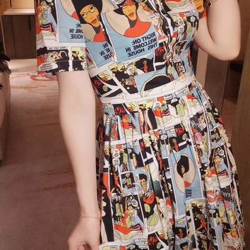Prada Comics collage print dress
