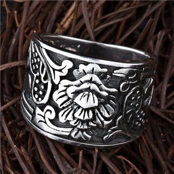 S925 Solid Thai Silver Flower Rings for Men Punk Black Jewelry 100% Real Genuine 925