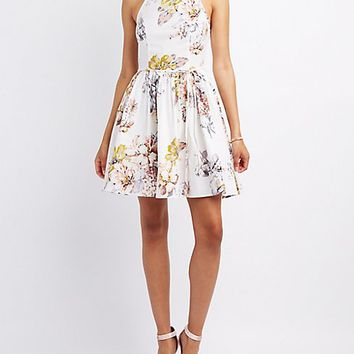 Floral Bib Neck Pleated Dress