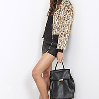 FOREVER 21 Luxe Faux Leopard Fur Bomber Black/Tan