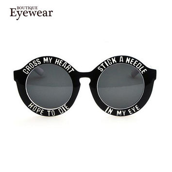 BOUTIQUE men women Letter Stripe Dot circle sunglasses female fashion vintage round sunglasses personality sun-shading glasses