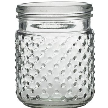 "Clear Glass Hobnail Jar - 5"" Tall x 3.5"" Wide SPECIAL"
