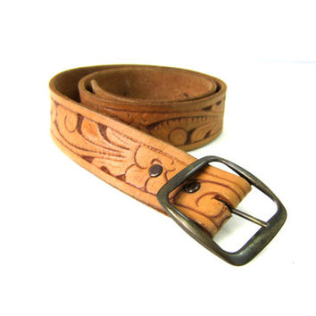 vintage leather tooled belt Floral Western Belt Silver Buckle Cowgirl Belt Women's Size small