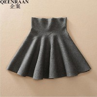 High Waist Attractive Colors Knitted Skirts