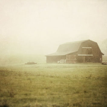 Rustic Foggy Barn Landscape Photograph by LisaRussoPhotography