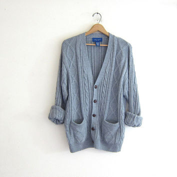 20% OFF SALE Vintage blue gray cardigan sweater. Hipster boyfriend sweater. button up pocket sweater. Grandpa cardigan sweater.