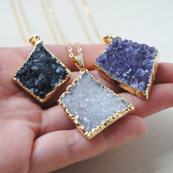 Geometric Druzy Necklace, Druzy Pendant Necklace, Gold Druzy Jewelry