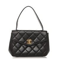 CHANEL Vintage Lambskin Mini Kelly Flap Bag Black
