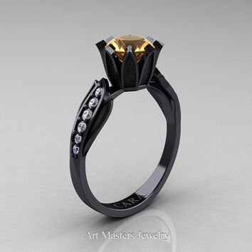 Cara 14K Black Gold 1.0 Ct Champagne Diamond White Diamond Solitaire Ring R423-14KBGDCHD