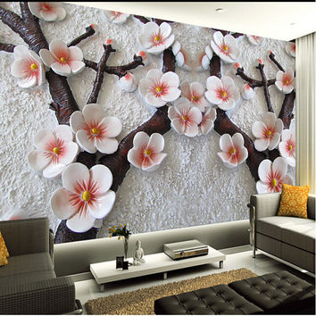 custom wall mural Modern art painting high quality mural wallpaper 3d living room TV backdrop relief plum photo wall paper