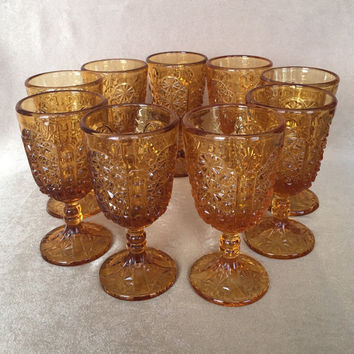 Amber Wine Glass, LG Wright, Daisy and Button, Vintage EAPG, Amber Pressed Glass, Mid Century Barware, Stemmed Glasses, Amber Juice Glass