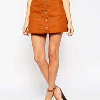 ASOS PETITE Exclusive A-line Mini Skirt With Button Front