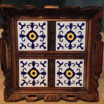 Carved wood & mexican tile serving tray