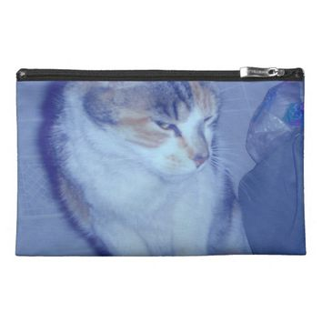 Blue Tone Calico Kitty Travel Accessory Bag