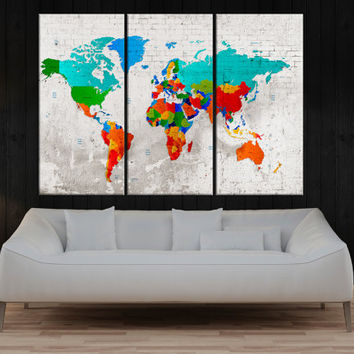 colorful Push pin world map wall art canvas, push pin detailed world map, travel map canvas, world map with countries, modern art No:8S59